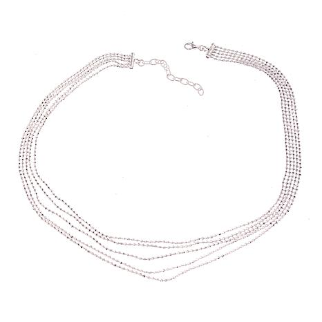 "Sevilla Silver™ 5-Row Diamond-Cut Bead 16"" Necklace"