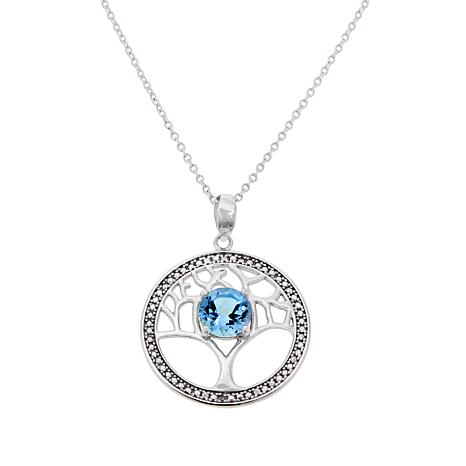 "Sevilla Silver™ Blue Topaz ""Tree of Life"" Pendant with Chain"