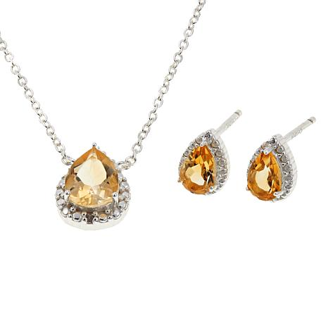 """Sevilla Silver™ Citrine Stud Earrings and 18"""" Drop Necklace Set"""