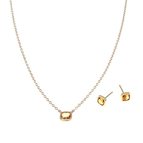 Sevilla Silver™ Citrine Stud Earrings and Necklace Set
