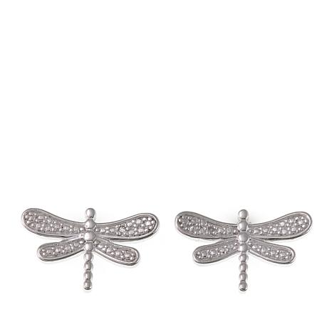 "Sevilla Silver™ Diamond-Accent ""Dragonfly"" Stud Earrings"