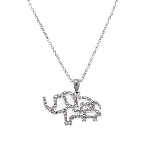 Sevilla Silver™ Diamond-Accented Beaded Elephant Pendant with Chain