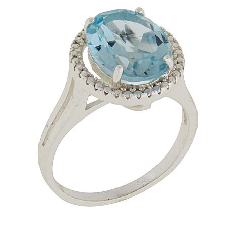 Sevilla Silver™ Diamond-Accented Blue Topaz Solitaire Ring