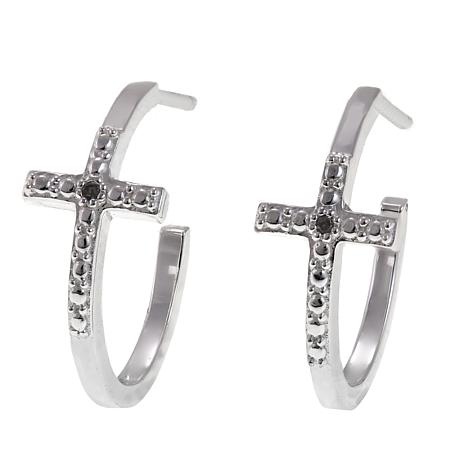 Sevilla Silver Diamond Accented Cross Hoop Earrings