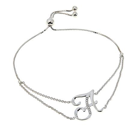 Sevilla Silver™ Diamond-Accented Initial Adjustable Bracelet