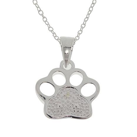 Sevilla Silver™ Diamond-Accented Paw Pendant with Chain