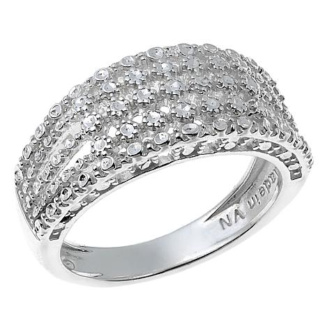 Sevilla Silver™ Diamond Press 5-Row Band Ring