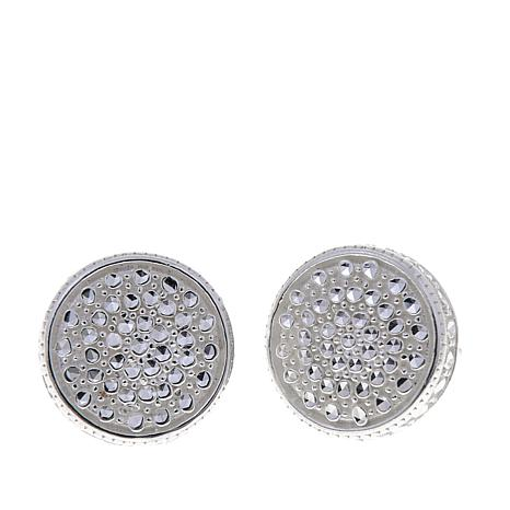 Sevilla Silver Diamond Pressed Round Stud Earrings