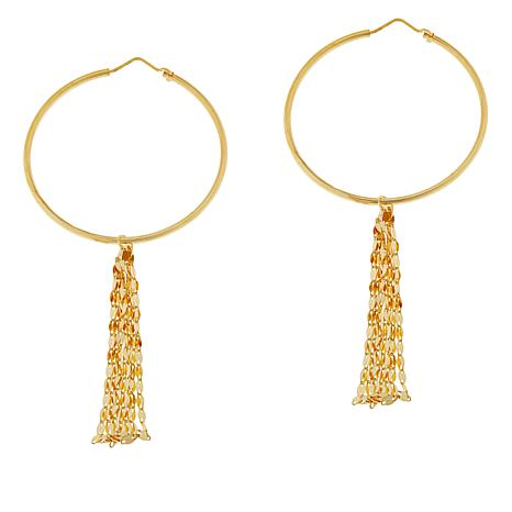 00895be0a88af exclusive! Sevilla Silver™ Gold-Plated Mirror Chain Tassel Hoop Earrings