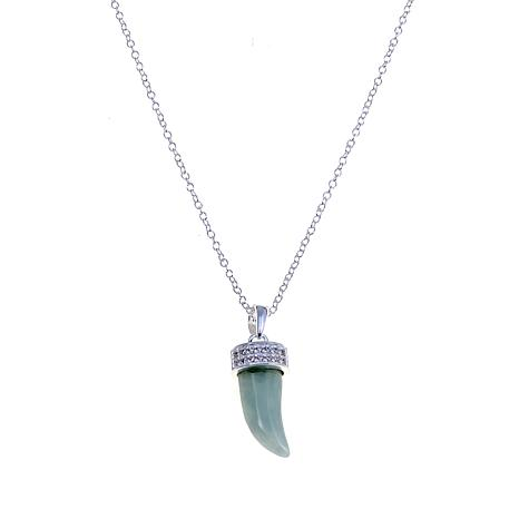 "Sevilla Silver™ Green Jade and CZ ""Mini Horn"" Necklace"