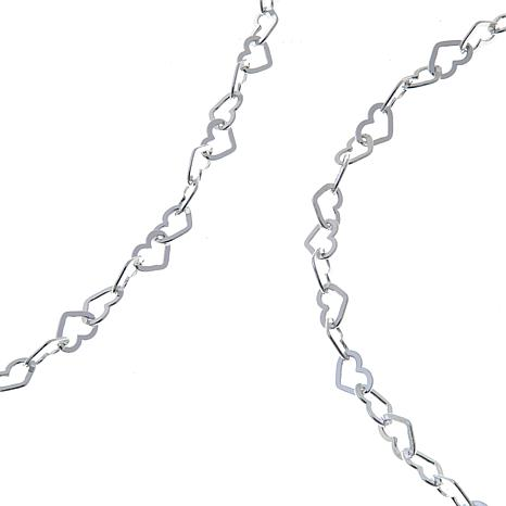 Sevilla Silver™ Heart-Link Chain Anklet & Necklace Set