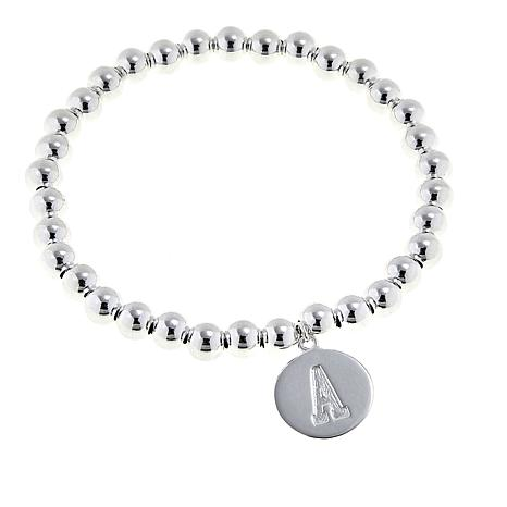 Sevilla Silver Initial Charm Beaded Stretch Bracelet