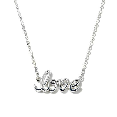 "Sevilla Silver™ ""Love"" Script 18"" Chain Necklace"