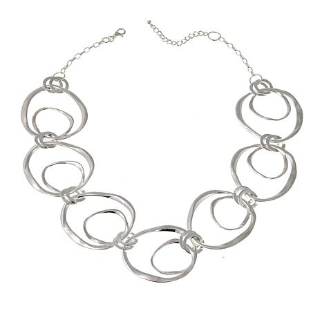"Sevilla Silver™ Open Circle Hammered Link 18"" Necklace"