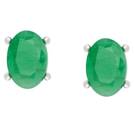 Sevilla Silver™ Oval Green Stud Earrings