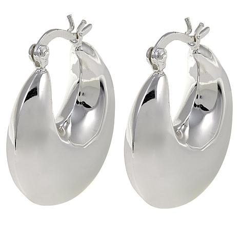 Sevilla Silver Polished Round Wide Thick Hoop Earrings