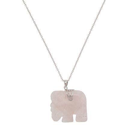 Sevilla Silver™ Rose Quartz Elephant Pendant with Chain