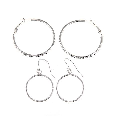 Sevilla Silver™ Set of 2 Diamond-Cut Earrings