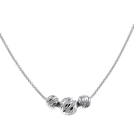 "Sevilla Silver™ Small Diamond-Cut 3-Bead 18"" Necklace"