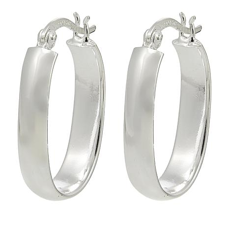 Sevilla Silver™ Squared Oval Tube Hoop Earrings
