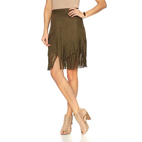 a05851caf795 Sheryl Crow Faux Suede Fringe Skirt - 8655324 | HSN
