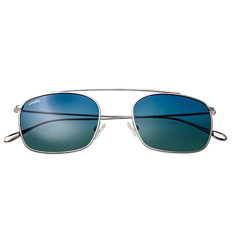 Simplify Collins Polarized Sunglasses -Silver Frames Blue/Green Lenses