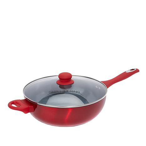 "Simply Ming Healthy Cookware Lightweight Soft-Grip 11"" Covered Wok"