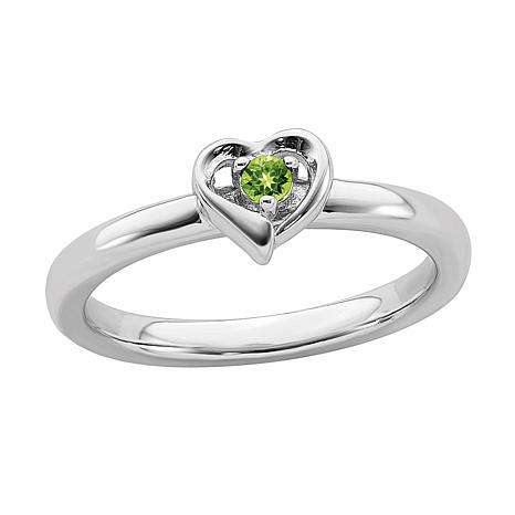 Simply Stacks™ Sterling Silver Birthstone Heart Stack Ring
