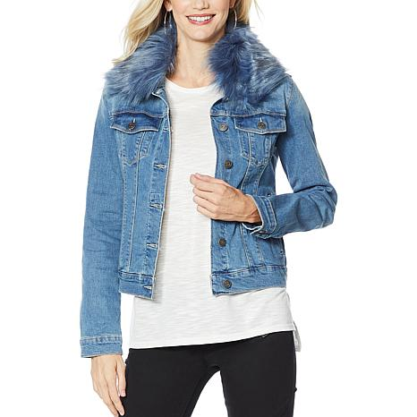 Skinnygirl Jean Jacket with Removable Faux Fur Collar