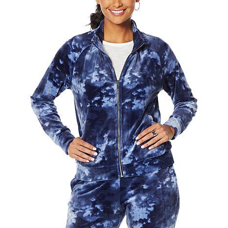 Skinnygirl Printed Velour Zip-Front Jacket