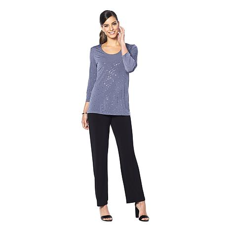 Slinky® Brand 2pc 3/4-Sleeve Sparkle Tunic and Solid Pant
