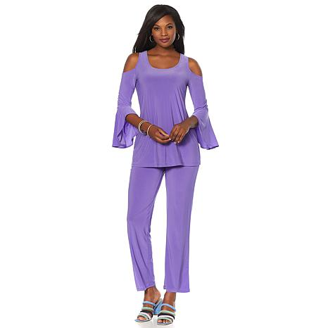 Slinky® Brand 2pc Bell-Sleeve Cold-Shoulder Tunic and Pant