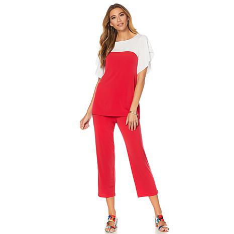 Slinky® Brand 2pc Colorblock Tunic and Crop Pant Set