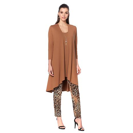 Slinky® Brand 2pc Draped Hi-Low Sweater Knit Duster and Tank