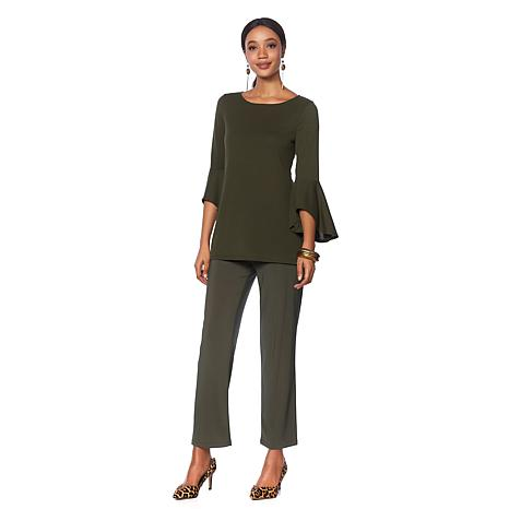Slinky® Brand 2pc Flounce Sleeve Sweater Tunic and Pant