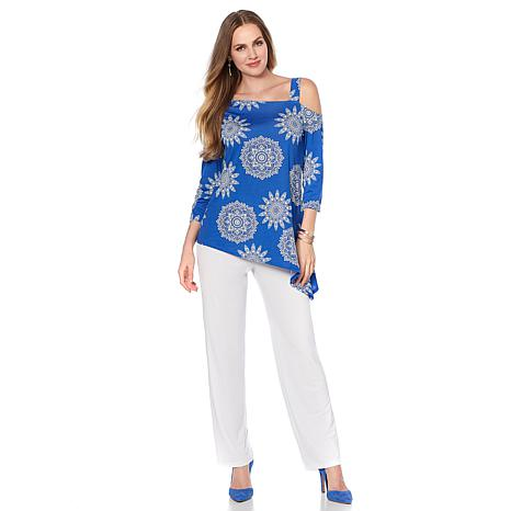 Slinky Brand 2pc Printed Asymmetric Tunic and Basic Pant Set