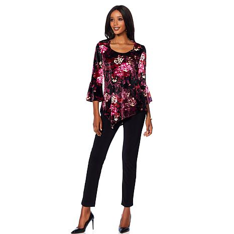 Slinky Brand 2pc Printed Velvet Tunic and Solid Pant