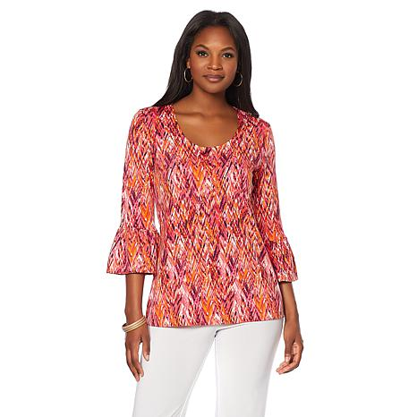 Slinky® Brand 2pk 3/4 Flounce Sleeve Tunics in Print and Solid