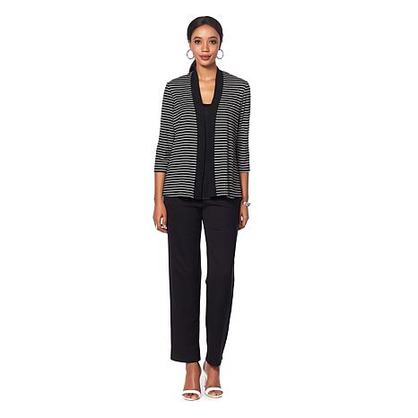 Slinky® Brand 3-piece Striped Jacket with Solid Tank and Pant