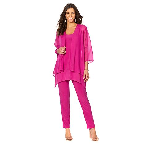 Slinky® Brand 3pc Knit Pant & Tunic with Chiffon Hem and Jacket