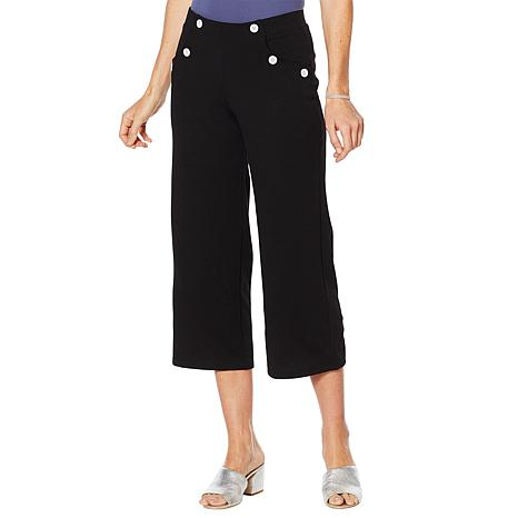 Slinky® Brand Button Detail Cropped Pant