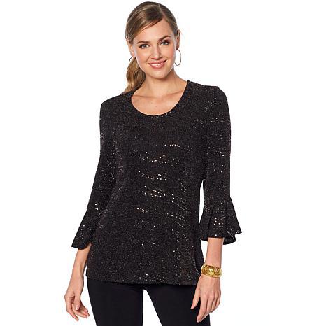 Slinky® Brand Flounce-Sleeve Sparkle Knit Tunic