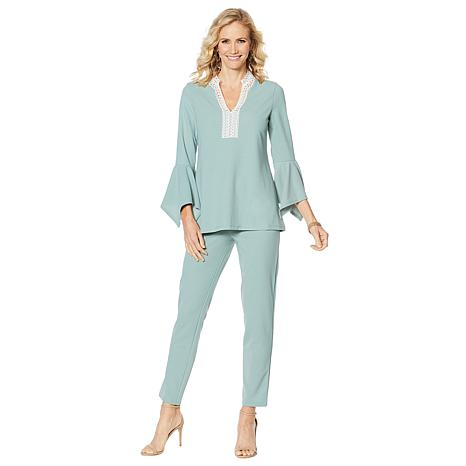 Slinky® Brand Luxe Crepe Crochet Tunic and Pant Set