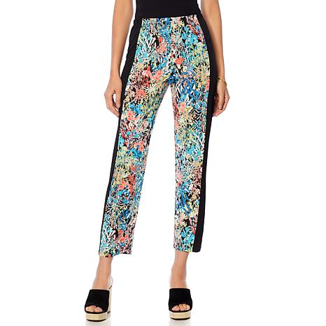 Slinky® Brand New Slim-Fit Printed Pant with Solid Panels