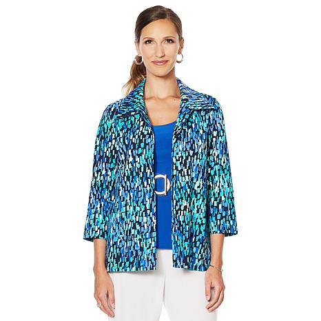 Slinky® Brand Printed Travel Stretch Collared Jacket