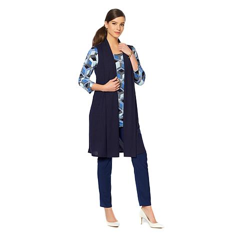 Slinky® Brand Shawl-Collar Ribbed Duster Vest