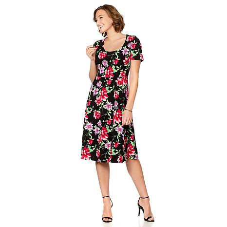 Slinky® Brand Short-Sleeve Printed Fit-and-Flare Dress