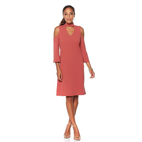 Slinky® Brand Textured Knit Cold-Shoulder Dress