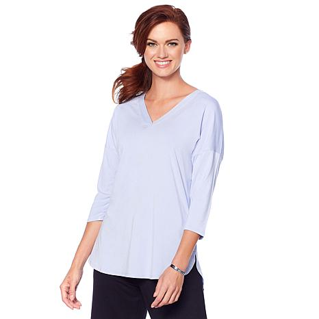 Soft & Cozy Cozy Cool Luxe Knit 3/4-Sleeve V-Neck Tee