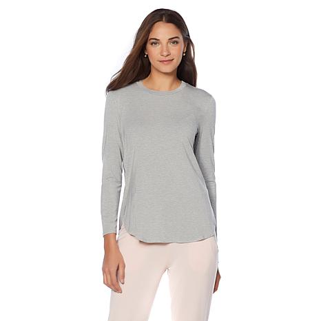 Soft & Cozy Loungewear Cool Luxe Knit Hi-Low Shirttail Tee